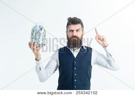 Business Man Raised Finger Up Holds Jar With Dollars. Retirement, Finance, Money Saving For Future C