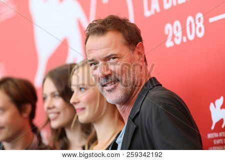 Sebastian Koch attends 'Werk Ohne Autor (Never Look Away)' photocall during the 75th Venice Film Festival at Sala Casino on September 4, 2018 in Venice, Italy.