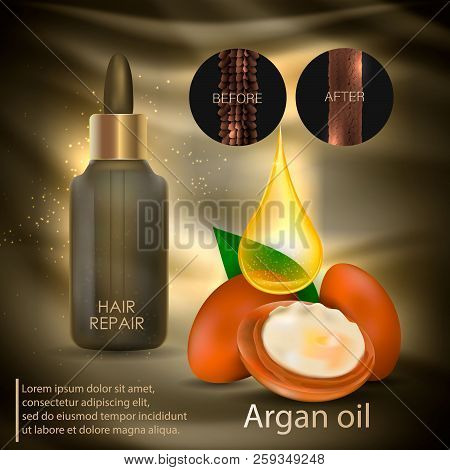 Argan Oil For Hair Care. Vector Illustration