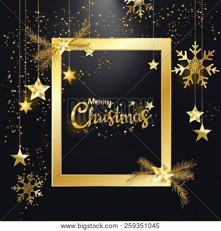 Merry Christmas And Happy New Year, Golden Glitter Of Christmas Elegant Frame With Diamond Dust Shin