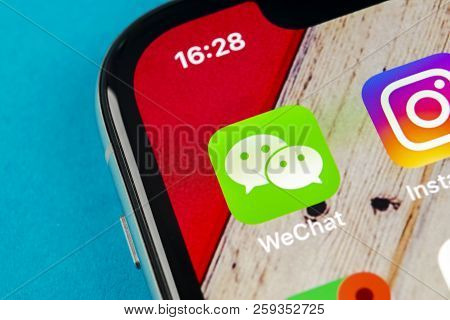Sankt-petersburg, Russia, September 19, 2018: Wechat Messenger Application Icon On Apple Iphone X Sm