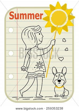 Line Drawing Of A Girl Holding A Sign With A Sun On It And Her Dog Sitting Next To Her. A Notepad As
