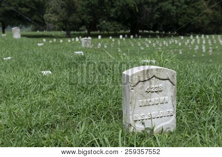 Vicksburg, Usa - June 22, 2014: Detail Of The Tombstone Of An Unknown Soldier At The Vicksburg Natio