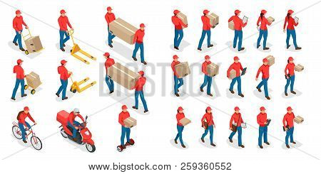 Isometric Big Set Of Delivery Man And Woman In Uniform Holding Boxes And Documents In Different Pose