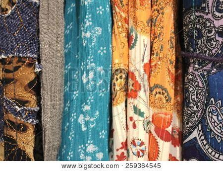 Macro Bohemian style fabrics soft focus, Boho fabric background materials, pretty floral textile background