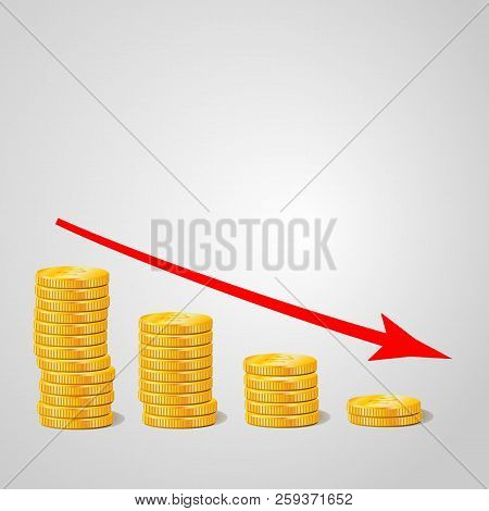 Coin Icon In Flat Design. Gold Coin Symbol. Concept Of Income With Arrow Up. Heap Of Cash Coin - Vec