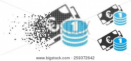 Euro Cash Money Icon In Dissolved, Pixelated Halftone And Solid Versions. Pixels Are Grouped Into Ve