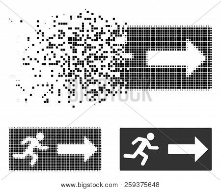 Emergency Exit Icon In Fractured, Pixelated Halftone And Original Versions. Elements Are Arranged In