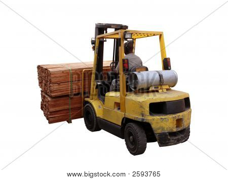 Forklift Loaded With Pile Of Wood