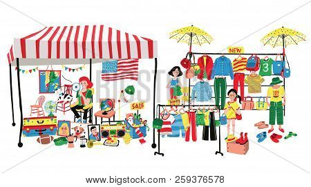 People Selling And Shopping At Flea Market Or Marketplace,having Clothes And Accessories Vendor And