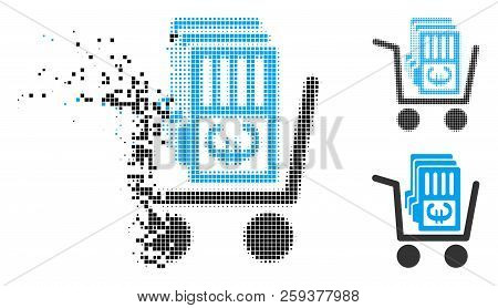 Euro Cash Out Cart Icon In Fragmented, Dotted Halftone And Original Versions. Particles Are Grouped