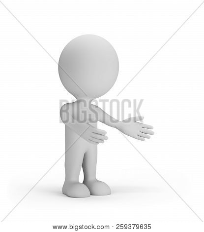 3d Person Invitation With A Gesture. 3d Image. White Background.
