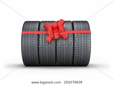 Car Tires With Red Bow. 3d Image. White Background.