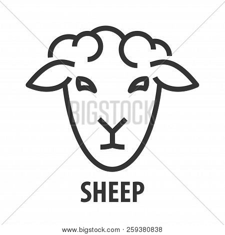 Minimalist Bold Line Icon Of Sheep. Abstract Logo Template Of Sheep Head. Vector Illustration.