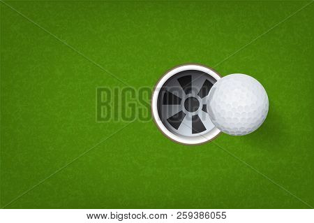 Golf Ball And Golf Hole On Green Grass Background. Vector Illustration.