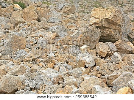 Stones And Solid Rock Of A Landslip In Mountain