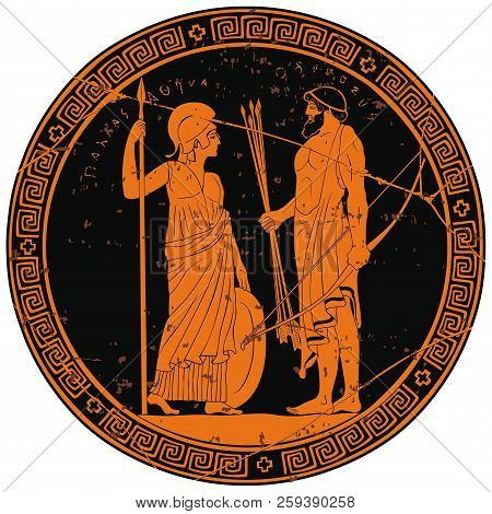 Image On The Bottom Of The Vase The Hero Of The Ancient Greek Myths And The Inscription Athena Palla