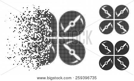 Airdrone screws rotation icon in dispersed, dotted halftone and undamaged versions. Pieces are combined into vector dissipated airdrone screws rotation icon. poster