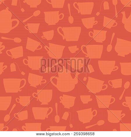 Vector Tea Cup Silhouettes Seamless Pattern Background Peach Orange. Tea Time. Cups, Teapots, Spoons