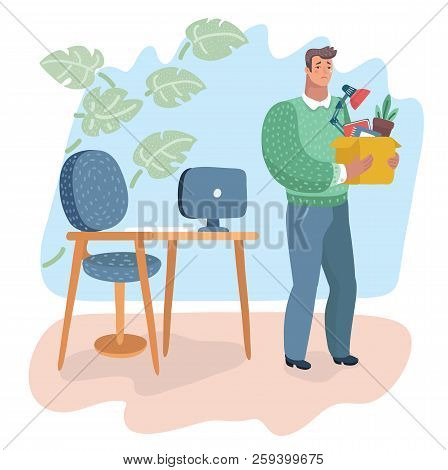 Vector Cartoon Illustration Of Dismissal. Unemployment, Crisis, Jobless And Employee Job Reduction,