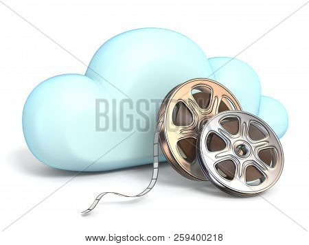 Cloud Icon With Movies Tapes 3d Rendering Isolated On White Background