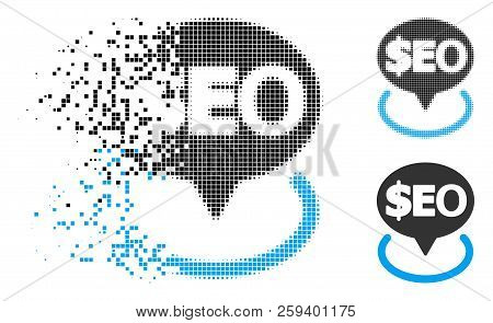 Geotargeting Seo Icon In Dissolved, Pixelated Halftone And Solid Variants. Particles Are Organized I