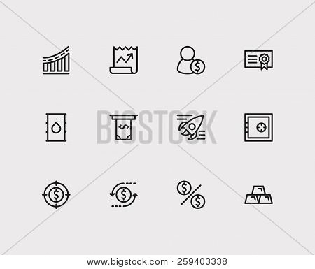Economy Icons Set. Investment Target And Economy Icons With Way To Success, Gold And Dividend. Set O