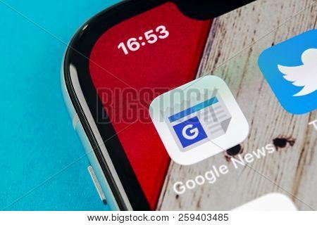 Sankt-petersburg, Russia, September 16, 2018: Google News Application Icon On Apple Iphone X Smartph