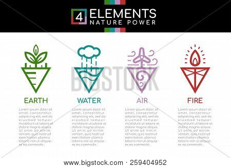 Nature 4 Elements Nature Power With Line Border Abstract Triangle Style Sign Icon Sign. Water, Fire,
