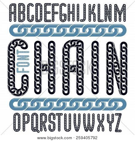 Vector Font, Trendy Typescript Can Be Used In Poster Creation. Capital Decorative Letters Created Us