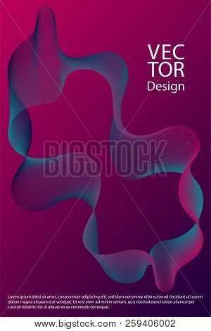 Curved Lines Ripple Texture Fluid Geometric Shapes Abstract Backgrounds, Cover Page Layouts Set. Cur