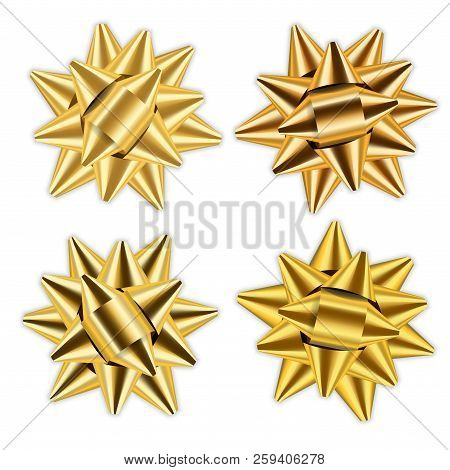 Gold Bow Ribbon 3d Set. Decor Elements Package. Shiny Golden Decoration Gift Present, Holiday Design