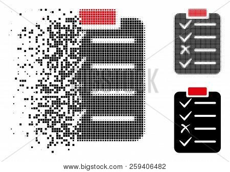 Task List Icon In Fragmented, Pixelated Halftone And Whole Variants. Particles Are Composed Into Vec