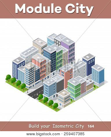 City Phone Concept Business Idea. 3d Isometric Skyscraper