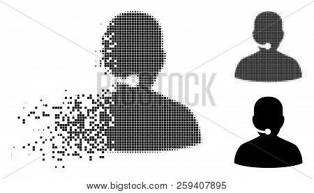 Call Center Icon In Dispersed, Pixelated Halftone And Whole Variants. Pieces Are Composed Into Vecto