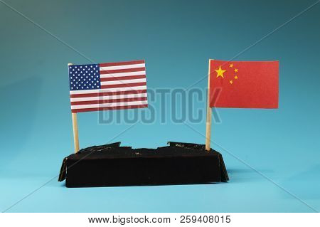 Business War Between Usa And China. West Between East. Communism Between Capitalism. Blue Background