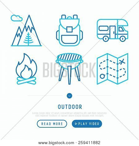 Outdoor Thin Line Icons Set: Mountains, Backpack, Camper, Fire, Map, Barbecue. Modern Vector Illustr