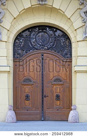 Wooden Arch Door Entrance In Szeged City Hall