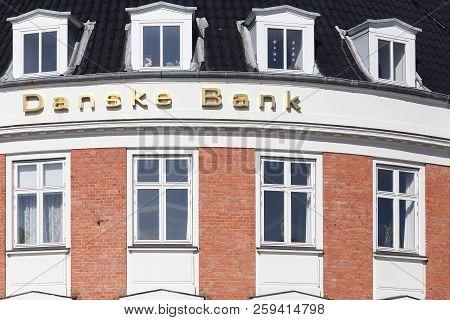 Odder, Denmark - April 2, 2018: Danske Bank Building In Denmark. Danske Bank Is The Largest Bank In