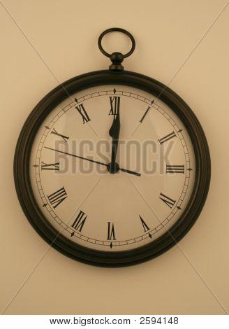Midnight Clock On White Wall
