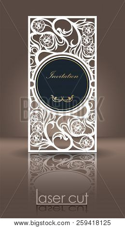 Die Laser Cutting Invitation Template For Celebration. Wedding Invitation Or Greeting Envelope With