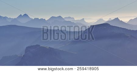 Mountain Ranges In The Bernese Oberland. View From Mount Niesen, Switzerland.