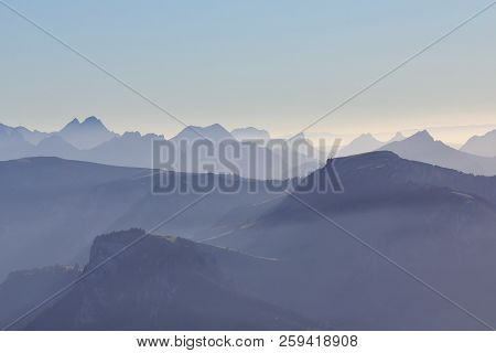 Mountain Ranges Seen From Mount Niesen, Bernese Oberland. Switzerland.