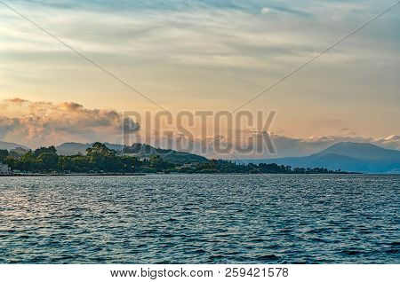 Mediterranean Landscape With Ocean And Sunset, Lixouri Kefalonia