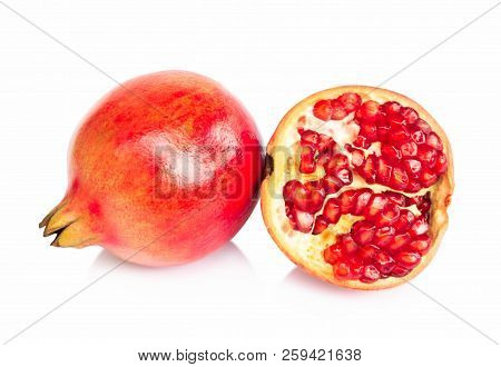 Fresh Pomegranate Fruit Isolate On White Background, Healthy Food Concept