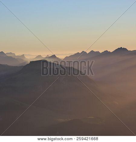 Sunset Scene In The Bernese Oberland, Switzerland. View From Mount Niesen.