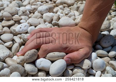 Close Up Of A Hand On A Stone Beach