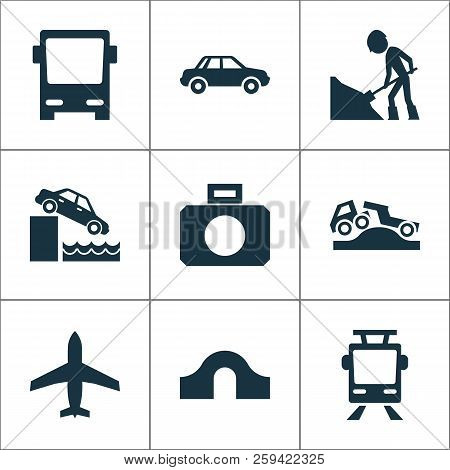 Transportation icons set with car, hump bridge, control and other riverbank elements. Isolated vector illustration transportation icons. poster