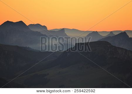 Mountains In The Bernese Oberland At Sunset. View From Mount Niesen, Switzerland.