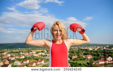 Girls Power Concept. Girl Boxing Gloves Symbol Struggle For Female Rights And Liberties. Woman Stron